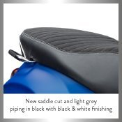 New Saddle cut in light grey piping with black and white finishing