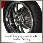 Rims in dust grey glossy with dark brushed finishing