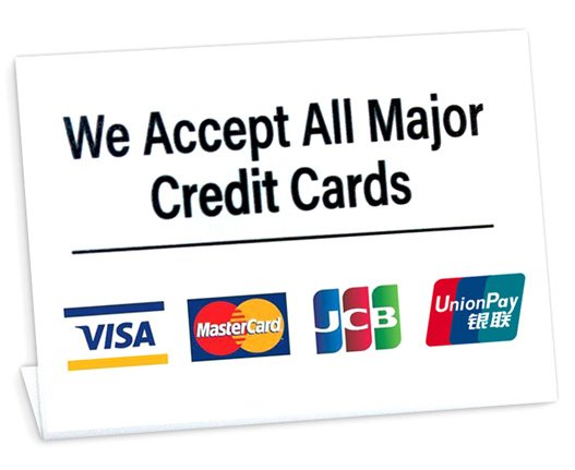 Credit card acceptable