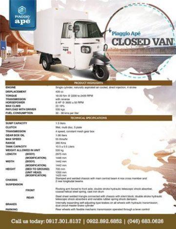 Piaggio Ape closed Van specs
